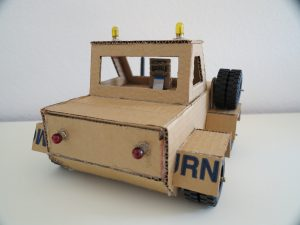 Cardboard robot rear view