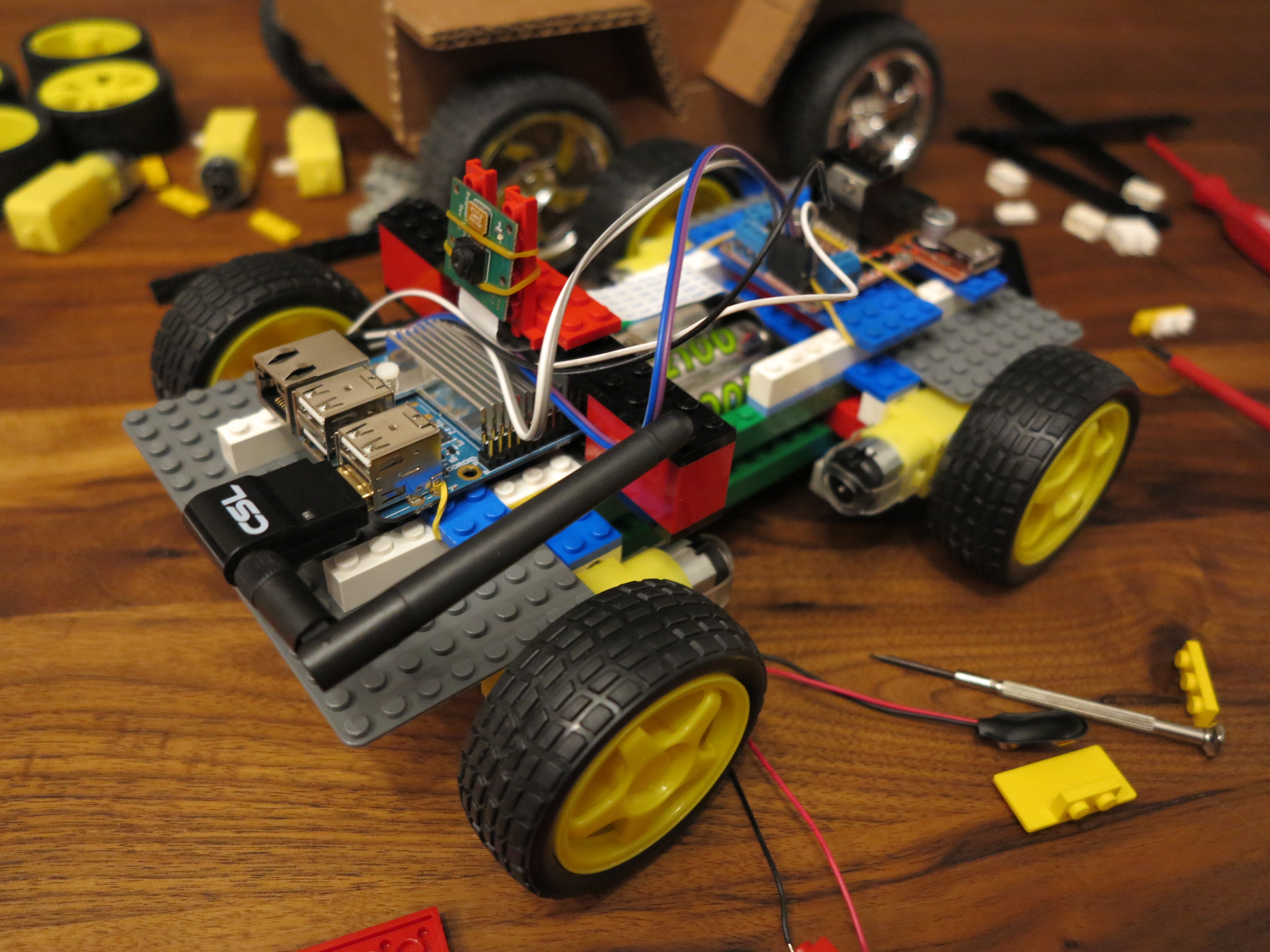 Remote Controlled Robot Build Of Lego Bricks With A Raspberry Pi Stepper Control Car Brick Wheel Prototyp
