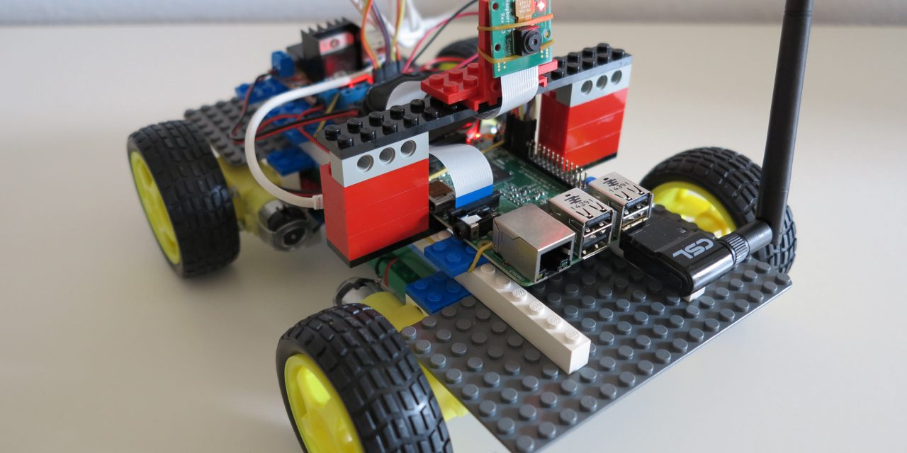 Remote controlled robot build of LEGO® bricks with a
