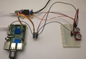 SRF08 Ultrasonic Distance Sensor I2C test setup