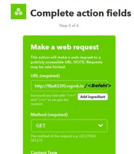 Einstellung der IFTTT Action fields