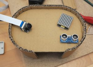 Toy robot head LED matrix camera and ultrasonic sensor