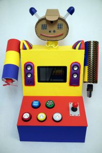 Kinder Roboter mir buntem Körper