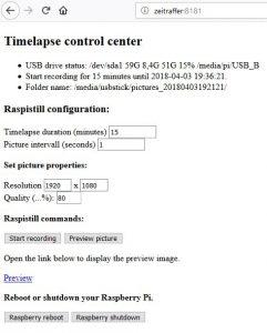 Raspberry Pi Zeitraffer - Web Oberfläche Version 1.1