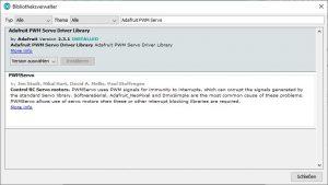 Arduino IDE Bibliothek Adafruit PWM Servo