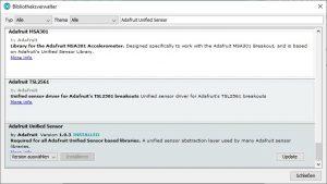 Arduino IDE Bibliothek Adafruit Unified Sensor
