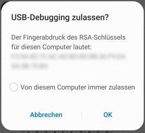 Android Smartphone Debugging zulassen
