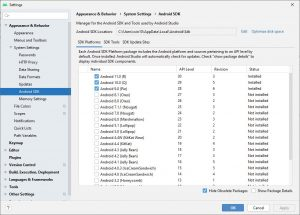 Android Studio SDK Version