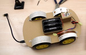 OpenBot chassis build cardboard chassis